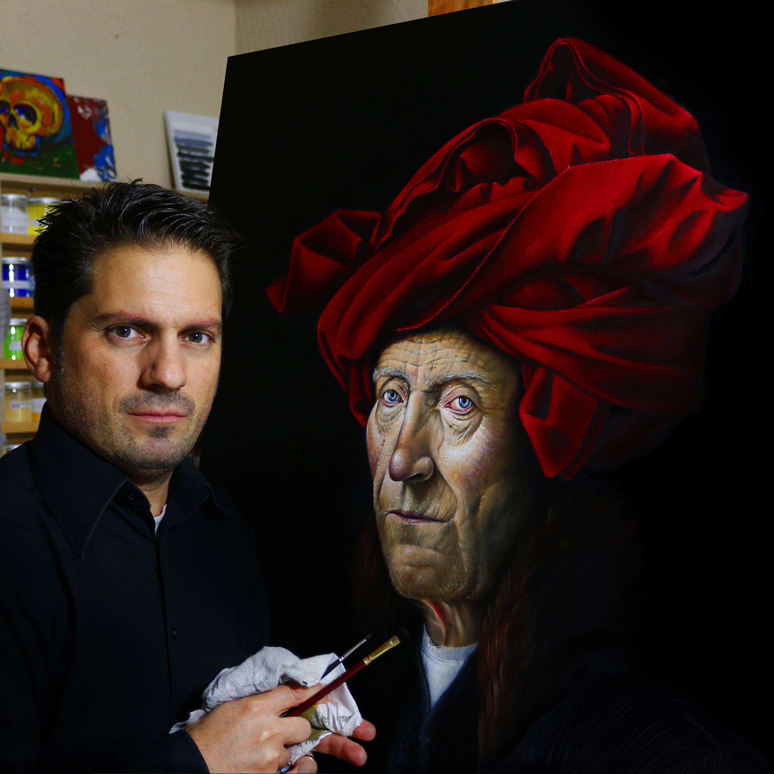 Artist Hakan Mandalinci at the studio 2015